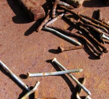 Old Rusty Horseshoes with nails Sticker