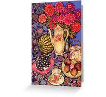 Zinnias, Fruit & Coffee Pot Greeting Card