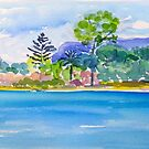 Tallebudgerra Creek with Springbrook  by Virginia McGowan