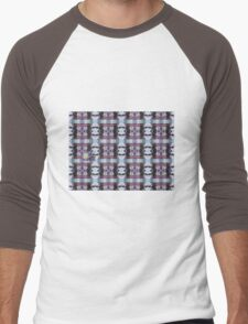 Psychedelic Kalidoscopic Glitched Clematis Flower Men's Baseball ¾ T-Shirt
