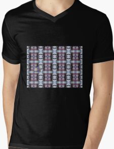 Psychedelic Kalidoscopic Glitched Clematis Flower Mens V-Neck T-Shirt