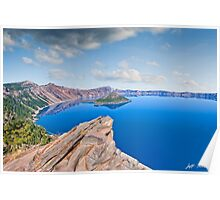 Rock Outcrop Overlooking Crater Lake Poster