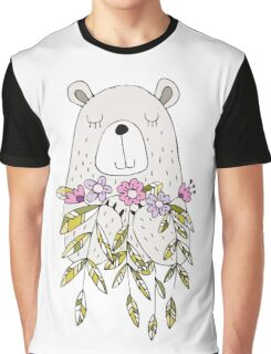 Cartoon Animals Cute Bear With Flowers Graphic T-Shirt