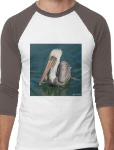 Brown Pelican With White Head Plumage Men's Baseball ¾ T-Shirt