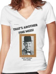 Stan Laurel Birthday Anniversary Women's Fitted V-Neck T-Shirt