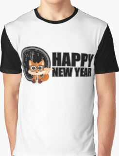 Happy New Year - Fox Nerd Graphic T-Shirt