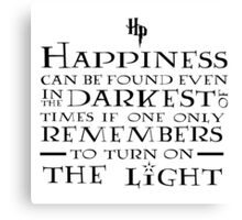 Happiness - Harry Potter quote Canvas Print