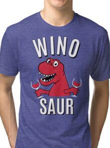 Winosaur Dinosaur Drinking Wine Tri-blend T-Shirt