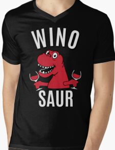 Winosaur Dinosaur Drinking Wine Mens V-Neck T-Shirt