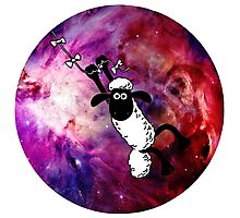 Sheep Fly On Galaxy Photographic Print