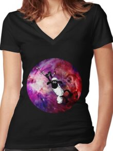 Sheep Fly On Galaxy Women's Fitted V-Neck T-Shirt