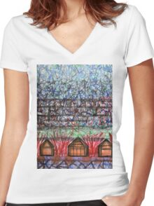 Three Cabins under Red Bushes Women's Fitted V-Neck T-Shirt