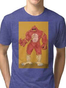 Angry cartoon monster  Tri-blend T-Shirt