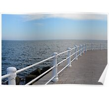 The sea and promenade with  white handrail. Poster