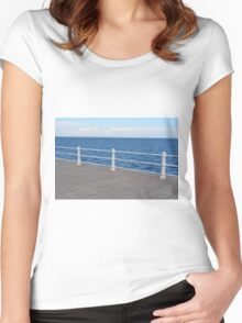 The sea and promenade with  white handrail. Women's Fitted Scoop T-Shirt