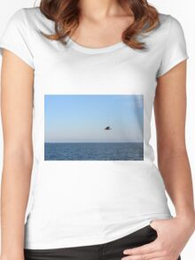Seagull in flight and the blue sea and calm sky. Women's Fitted Scoop T-Shirt