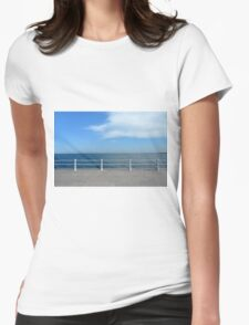 The sea and promenade with  white handrail. Womens Fitted T-Shirt