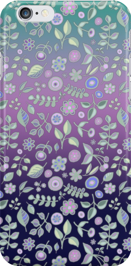 Ombre Nature Doodle Pattern in Navy & Purple by micklyn
