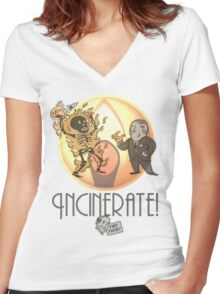 Incinerate! Women's Fitted V-Neck T-Shirt
