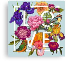 Floral and birds Graphic Design  Canvas Print