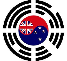 Korean Kiwi (New Zealand) Multinational Patriot Flag Series Photographic Print