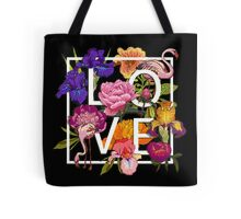 Floral and birds flamingos Love Graphic Design Tote Bag
