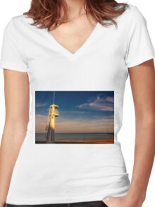 Lifeguard tower at sunset Women's Fitted V-Neck T-Shirt
