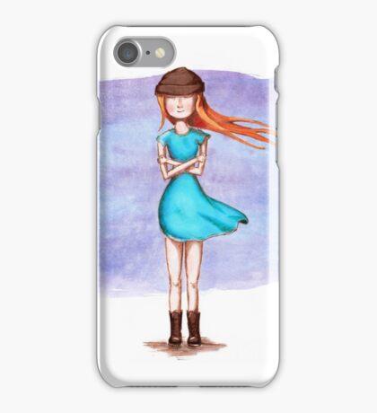 Cute girl in blue dress iPhone Case/Skin