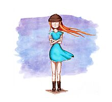 Cute girl in blue dress Photographic Print