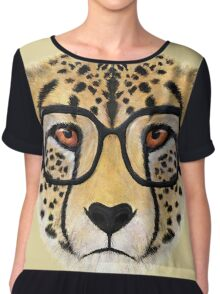Wild Cheetah with Glasses - V01 Chiffon Top