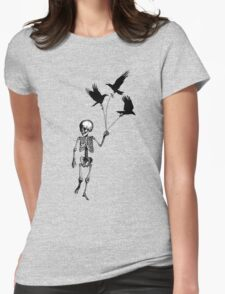 Child Skeleton walking pet crows Womens Fitted T-Shirt