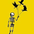 Child Skeleton walking pet crows by monsterplanet