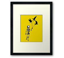 Child Skeleton walking pet crows Framed Print