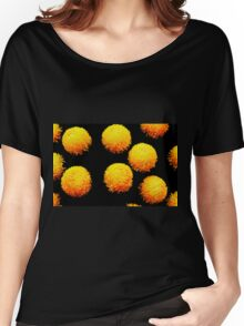 yellow globes on black Women's Relaxed Fit T-Shirt