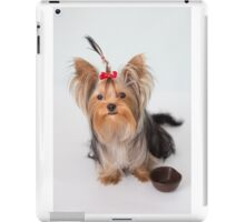 A charming puppy with her plate iPad Case/Skin