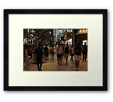 Walking in Tokyo at night Framed Print