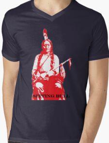 Sitting Bull - Red Mens V-Neck T-Shirt