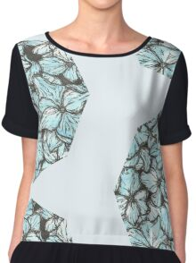 Blue Hydrangea Petals Chiffon Top