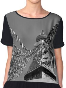 Boudhanath Stupa in Black and White Chiffon Top