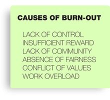 Causes of Burnout Canvas Print