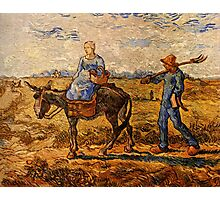 Vincent van Gogh - Morning,  Peasant Couple Going to Work after Jean-Francois  Photographic Print