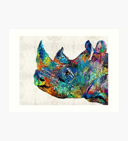 Rhino Rhinoceros Art - Looking Up - By Sharon Cummings Art Print