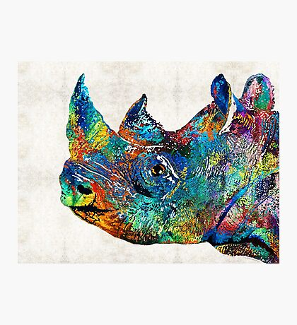 Rhino Rhinoceros Art - Looking Up - By Sharon Cummings Photographic Print