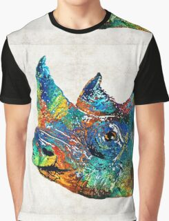 Rhino Rhinoceros Art - Looking Up - By Sharon Cummings Graphic T-Shirt