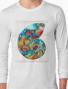 Colorful Nautilus Shell by Sharon Cummings Long Sleeve T-Shirt