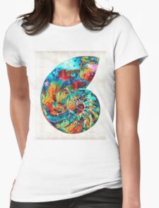 Colorful Nautilus Shell by Sharon Cummings Womens Fitted T-Shirt