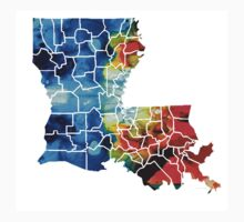 Louisiana Map - State Maps By Sharon Cummings One Piece - Short Sleeve