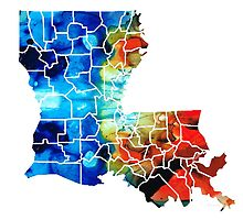 Louisiana Map - State Maps By Sharon Cummings by Sharon Cummings