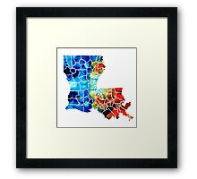 Louisiana Map - State Maps By Sharon Cummings Framed Print