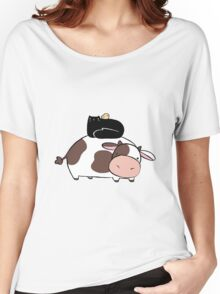 Cow Black Cat and Chick Women's Relaxed Fit T-Shirt